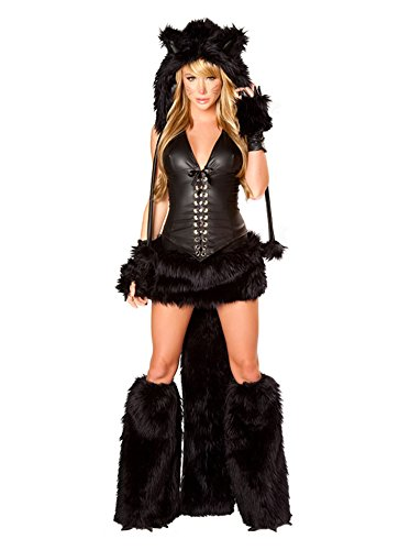 Fuman Tier Kostüm Schwarze Katze Plüschkostüm Fasching Cosplay Karneval Kostüm Damen