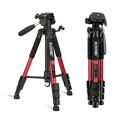 ZOMEI 58' Light Weight Travel Portable Aluminum Camera Tripod for Canon Nikon Sony DSLR Camera with Carry Case-11 lb Load (Red)