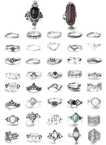 FIBO STEEL 43-59 Pcs Vintage Knuckle Rings for Women Girls Stackable Midi Finger Ring Set… (A1: 43 Pcs a Set) …