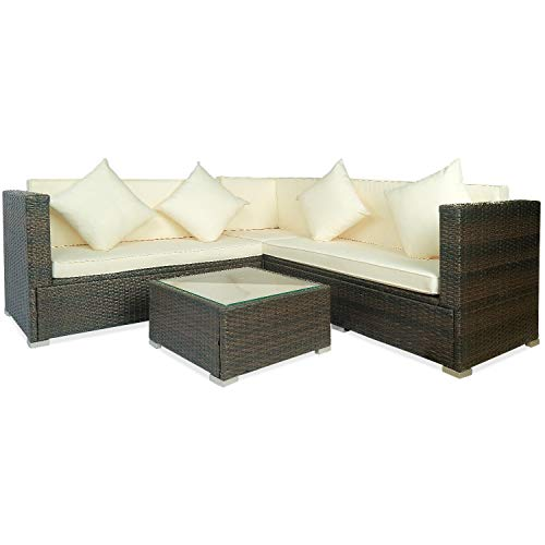 Multifunzionale Comodo Divano 4 Pz Big Beige Cuscino Esterna del PE Rattan Wicker Patio Divano componibile Furniture Set Conversation Set, Soft