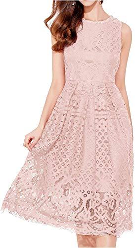 VEIIASR Womens Fashion Sleeveless Lace Fit Flare Elegant Cocktail Party Dress (Medium, Pink) (Apparel)