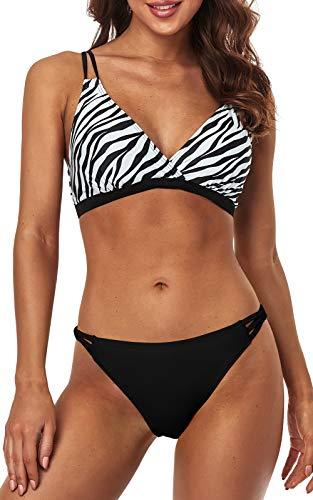 Charmo Women V Neck Bikini Bathing Suit Tie Back Swimsuits Set Triangle Swimwear M