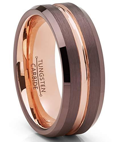 Metal Masters Co. Schokoladenbraun und Rose Gold vergoldet Wolframcarbid Ehering Ring 8mm