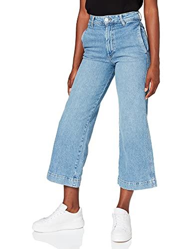 Springfield Jeans Culotte Talle Alto Pantalones, Azul Medio, 36