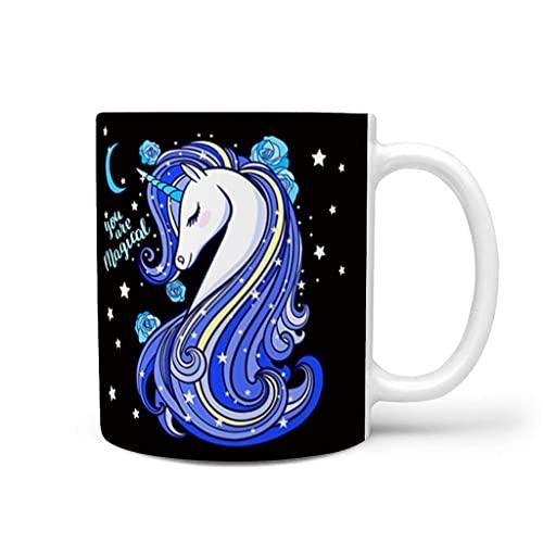 N\A Unicornio Taza de cerámica Tazas de Porcelana con asa Regalo navideño de Hanukkah para ti y tu Amigo Blanco 11 oz