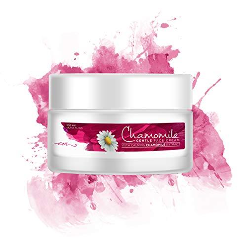 Crème visage peaux sensibles 100% NATURELLE - Soin riche en Camomille pure   Crème hydratante contre les rougeurs   Peaux sujette à l'eczéma   Apaise, hydrate et protège la peau naturellement