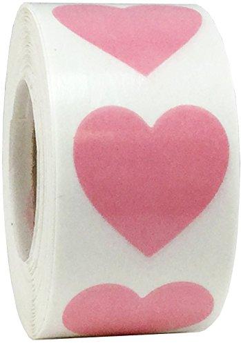 Trasparente Rosa Cuore Adesivi, 19 mm 3/4 Pollici di Larghezza, 500 Etichette su Rotolo