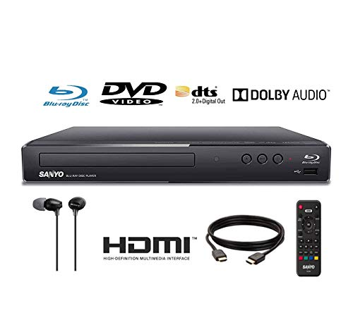Cheapest Price! Sanyo FWBP506F Blu-ray Player 6FT HDMI Cable and Sony MDR-EX15LP Included (Renewed)
