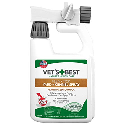Veterinario de la Mejor Natural Flea and Tick Patio y de la Perrera Spray, 32 oz, Hechas en Estados Unidos.