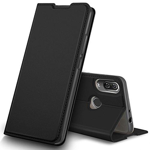 GeeMai Wiko View 2 Hülle, Premium Flip Case Tasche Cover Hüllen mit Magnetverschluss [Standfunktion] Schutzhülle Handyhülle für Wiko View 2 Smartphone, Schwarz