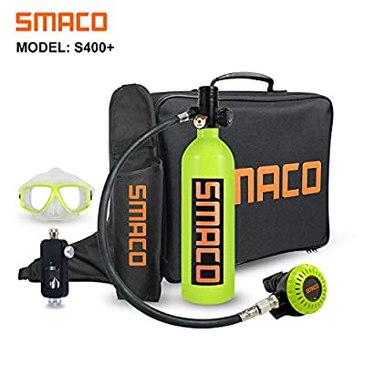 Scuba Tank for Diving Oxygen Tank for Breathing Underwater Device Dive Equipment Support 15-20 Minutes?340 Breathe Times? Mini Scuba Tank with Pump Scuba Diving Accessories S400+ Packages C, Green