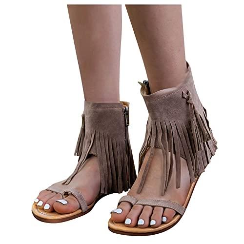 Dasongff Sandalias romanas para mujer, con clip, con flecos, estilo étnico, para playa, verano, elegantes, planas, para estar por casa