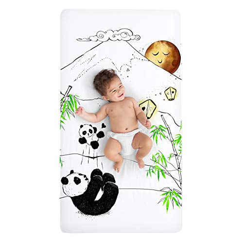 100% Cotton Super Soft Crib Sheet - Hypoallergenic and Breathable - Original Design by JumpOff Jo - Playful Pandas