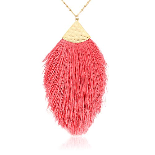 RIAH FASHION Antique Bohemian Silky Thread Fan Tassel Statement Necklace - Vintage Gold Feather Shape Strand Fringe Lightweight Long Chain (Feather Fringe - Neon Pink)