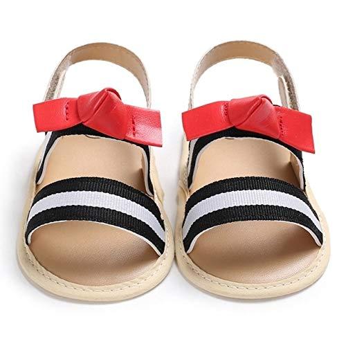 Baby shoes Chaussures bébé nouveau-né Sandales bébé enfant en bas âge doux Lit Sole First Walker Chaussures, Taille: 12 cm (Blacke + rouge) (Couleur : Black+White)