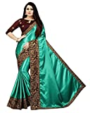 NIRLOBH SELF DESIGN FASHION SATIN SAREE WITH MULTI EMBROIDERY ACRYLIC, THREAD WORK WITH EMBROIDERY BLOUSE PIECE (RAMA)