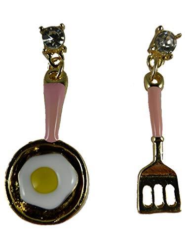 Ohrringe Ohrstecker goldfarben/rosa Pfanne mit Ei Eigelb Pfannenwender Besteck Koch Küche 12.905
