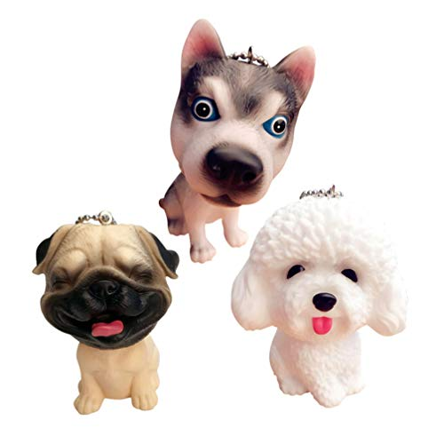 TOYANDONA 3Pcs Keychains Creative Pet Dog Shape Key Ring Small Gift for Friends(Husky + Teddy + Pug)