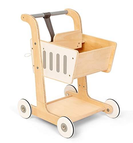 Unbekannt Puppenwagen, Holz Einkaufswagen, mit Babytrage, Maße: 38 x 51 x 35 - Puppenwagen