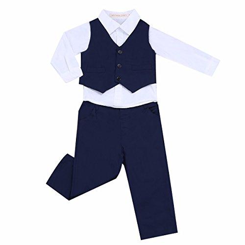 YiZYiF 3 Stück Baby Kinder Jungen Kleidung Set Party Taufe Hochzeit Smoking Anzüge & Sakkos Mantel Coat + Shirt + Pants Hose Outfits Gr. 80 86 92 104 110 (86-92, Weiß Marineblau)