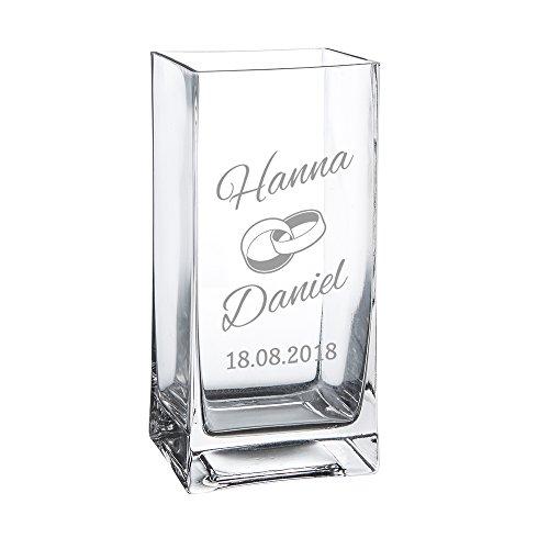 Casa Vivente Blumenvase aus Glas mit Gravur, Motiv Ringe, Personalisiert mit Namen und Datum, Dekoration, Hochzeitsgeschenke für Brautpaar