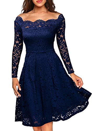 MISSMAY Women's Vintage Floral Lace Long Sleeve Boat Neck Cocktail Party Swing Dress, Small, Navy Blue