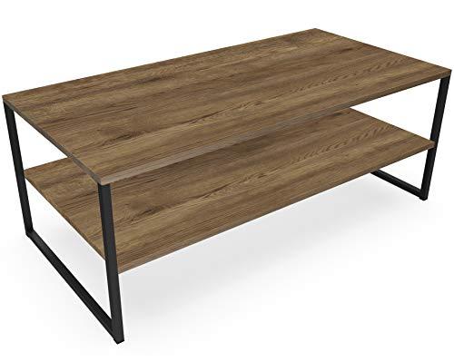NOVAMAT Salontafel Ellis in loft-stijl tafel woonkamertafel van hout Elagant Design Edel eiken donker