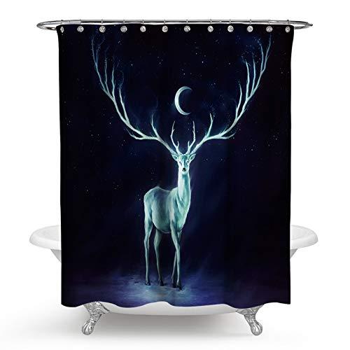 KnSam Duschvorhang 3D-Effekt Wasserdicht Anti Schimmel Waschbar mit 12 Duschvorhangringe Davidshirsch Polyester Bad Vorhang für Badezimmer - Stil 1 180 x 180 cm