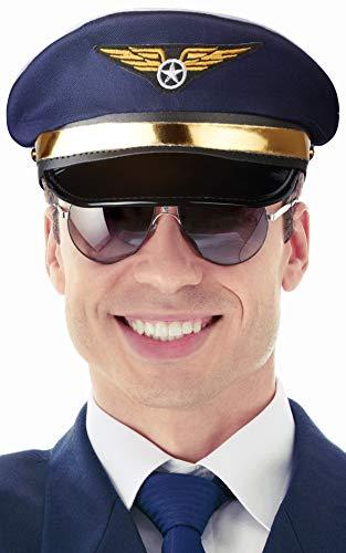 Balinco Pilotenmütze dunkelblau mit goldener Leiste für Damen & Herren - Größe verstellbar