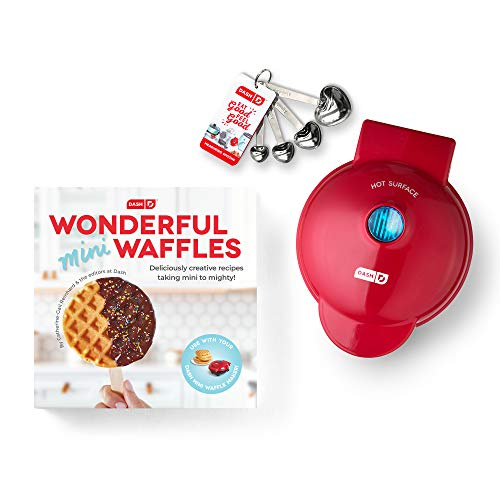 Dash DMWGS001RD Machine for Individual, Paninis, Hash Browns, & other Mini waffle maker, 4 inch, Red Gift Set