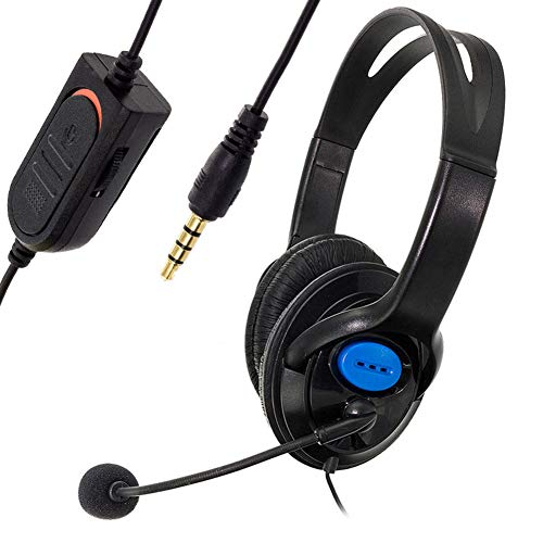 wsloftyGYd 3.5mm Stereo Headset Wired Noise-Canceling Gaming Headset with Microphone for Laptop Ear-Hook Headphones