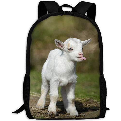 Backpack,Lustige Baby Ziege Lächeln Moment Erwachsenen Reise Rucksack Schule Casual Daypack Oxford Outdoor Laptop Tasche College Computer Umhängetaschen