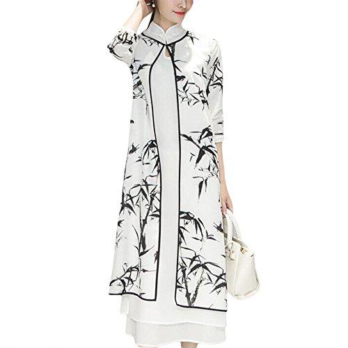 G-LIKE Damen Empire Kleid Cheongsam - Traditionelle Chinesische Qipao Stile Kleider Tuschmalerei Stoffdruck Mittlere Ärmel Zweischicht Set Party Abend Freizeitkleidung Outfit Kostüm Frauen (XXL)