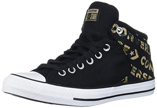 Converse Chuck Taylor All Star Logo Camo Print Street High Top Sneaker, Black/Desert Khaki/White, 10.5 M US