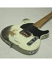 Lokaibin Handwork Zware Relic Elektrische Gitaar met Ash body in witte kleur, oude gitaaronderdelen, messing zadelbrug (Color : Guitar And HardCase)