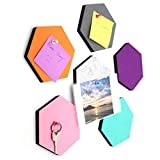 Omitfu Set of 6 Hexagon Felt Pin Board Self Adhesive Bulletin Memo Photo Boards Colorful Foam Wall Decorative Tiles with 6 Pushpins - 5.5 x 5 x 0.5 inches (6pc-A)
