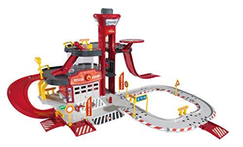 Majorette 212050019 Creatix Rescue Station + 5 Fahrzeuge, Spielset mit großer Garage und 5 Spielzeugautos, 72x72x35cm, Die-Cast