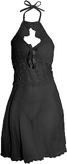 طقم لانجيري بيبي دول مثير من انجير تي، ملابس نوم دانتيل، ملابس نوم، ملابس نوم قصيرة، بيجامة نوم شفافة مع سروال داخلي للنساء