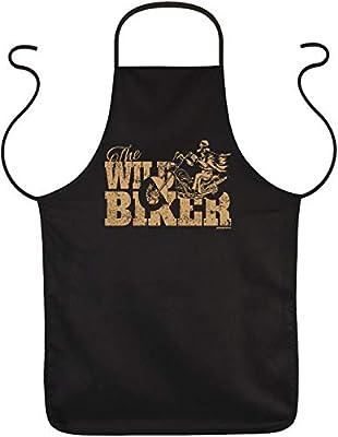 Biker Fun Grillschürze <-> The WILD BIKER <-> ideales Biker-Geschenk, Goodman Design®Schwarz