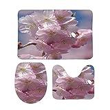 FoDuoDuo, set di 3 tappeti da bagno rosa Sakura Cherry Blossom Set di 3 pezzi, tappeto da bagno a forma di U, copertura per coperchio WC, 50 x 80 cm, antiscivolo in velluto corallo