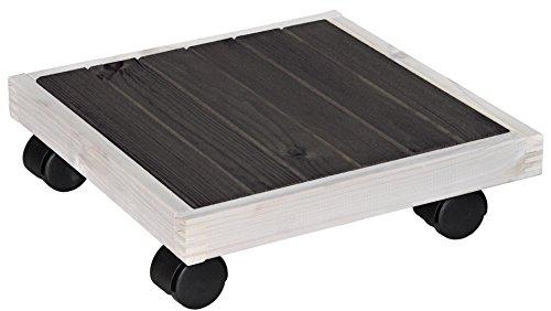 WAGNER Pflanzenroller - Nordic - Kiefer massiv, FSC®-Massivholz, schwarz/weiß, 29 x 29 x 8 cm, Tragkraft 100 kg - 20085001