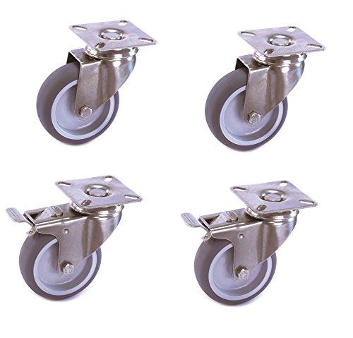 Satz Edelstahlrolle 50 mm Gummi grau spurlos Anschraubplatte mit ohne Bremse V2A INOX Transportrolle Apparaterolle aus Edelstahl Platte