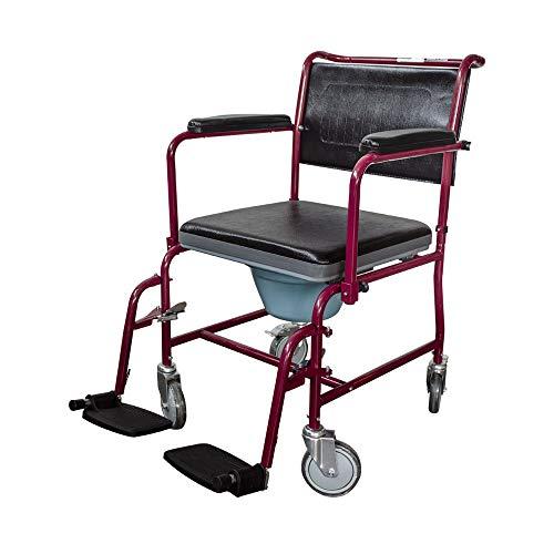 Mobiclinic, Ancla, Silla con WC con ruedas, silla de inodoro para minusválidos, discapacitados, ancianos, plegable, reposabrazos y reposapiés, asiento ergonómico, conteras antideslizantes, Burdeos