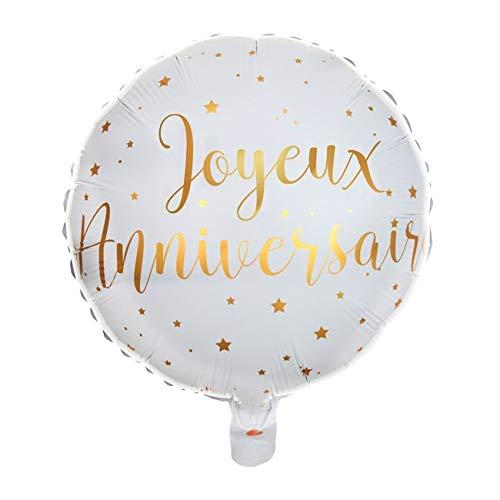Chal - Ballon 35 cm Blanc et Or Joyeux Anniversaire