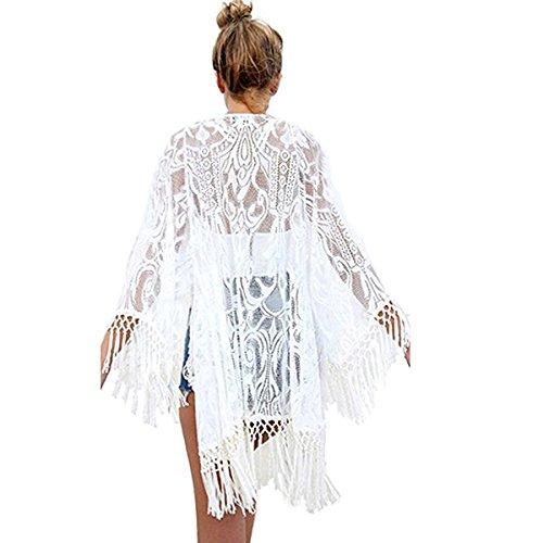 homedecoam Sexy Spitze Quasten Hohle Kimono Cardigan Sommer Strand Cover Top Weiss