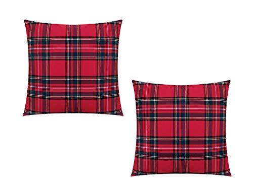 GIACALLON - Confezione da 2 Federe Cuscini Divano Natalizi Tartan in Cotone 40x40 cm - Fatte a Mano - Copricuscini scozzesi misure personalizzabili 30x50