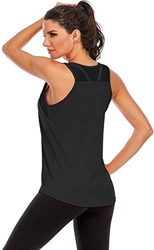 Nekosi Damen Yoga Tanktops Ärmelloses Sportshirt Kleidung Mesh Zurück Fitness Laufen Shirt Sport Oberteile Schwarz X-Groß