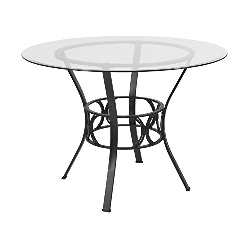 Flash Furniture Carlisle 48'' Round Glass Dining Table with Black Metal Frame