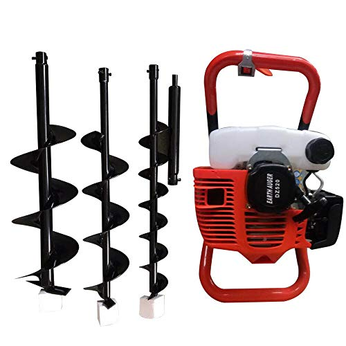 DYRABEST 2 Stroke 52CC Fence Earth Auger, Auger Post Hole Digger Gas Powered Auger Post Hole Digger Fence Ground Drill Petrol Earth Auger with Extension Bar 3 Bits(4' 6' 8' Bit)