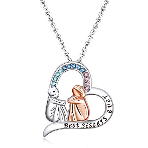 AOBOCO Sister Necklace Sterling Silver Heart Pendent with Crystal Jewellery Birthday Gifts for Her
